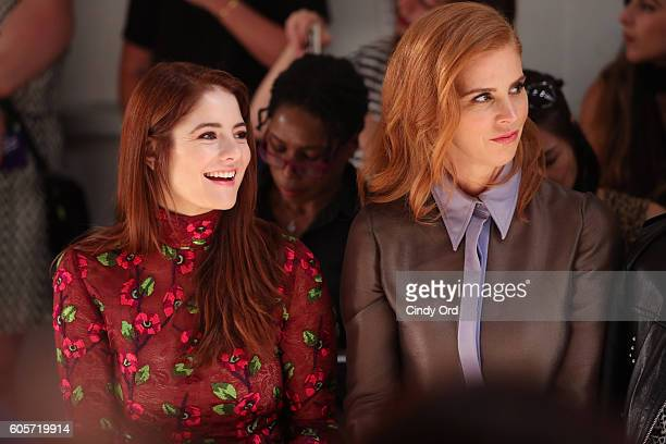 Actresses Emily Tremaine and Sarah Rafferty attend the Georgine fashion show during New York Fashion Week September 2016 at The Gallery Skylight at...