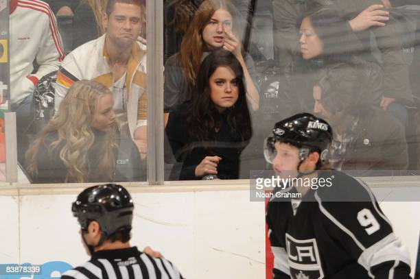 Actresses Emily Van Camp Ashley Newbrough and Director Jason Reitman attend the NHL game between the Toronto Maple Leafs and the Los Angeles Kings on...
