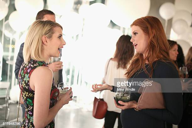 Actresses Emma Roberts and JoAnna Garcia attend smartwater sparkling celebrates Jennifer Aniston and St Jude's Children's Hospital at W Hollywood on...