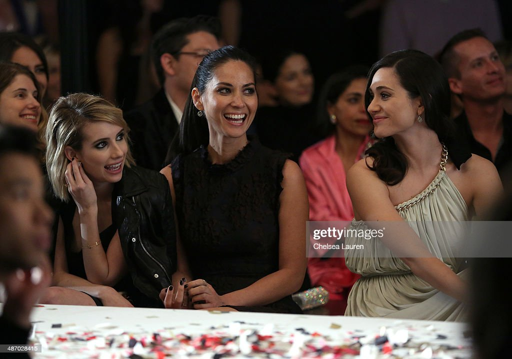 Actresses Emma Roberts, Olivia Munn and Emmy Rossum attend Lanvin And Living Beauty Host An Evening Of Fashion on April 26, 2014 in Beverly Hills, California.