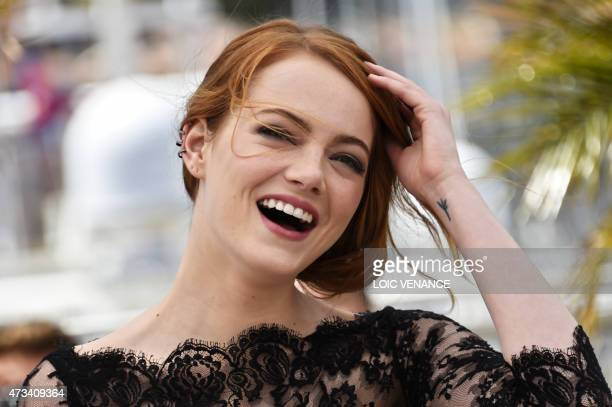 US actresses Emma Stone poses during a photocall for the film 'Irrational Man' at the 68th Cannes Film Festival in Cannes southeastern France on May...