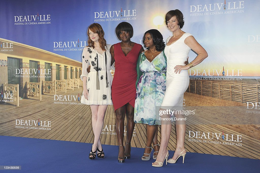 Actresses <a gi-track='captionPersonalityLinkClicked' href=/galleries/search?phrase=Emma+Stone&family=editorial&specificpeople=672023 ng-click='$event.stopPropagation()'>Emma Stone</a>,<a gi-track='captionPersonalityLinkClicked' href=/galleries/search?phrase=Viola+Davis&family=editorial&specificpeople=653789 ng-click='$event.stopPropagation()'>Viola Davis</a>, <a gi-track='captionPersonalityLinkClicked' href=/galleries/search?phrase=Octavia+Spencer&family=editorial&specificpeople=2538115 ng-click='$event.stopPropagation()'>Octavia Spencer</a> and <a gi-track='captionPersonalityLinkClicked' href=/galleries/search?phrase=Allison+Janney&family=editorial&specificpeople=206290 ng-click='$event.stopPropagation()'>Allison Janney</a> pose at 'The Help' Photocall during 37th Deauville American Film Festival on September 3, 2011 in Deauville, France.