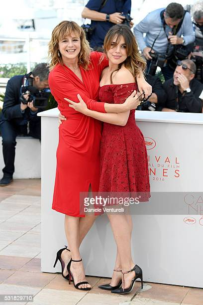 Actresses Emma Suarez and Adriana Ugarte attend the 'Julieta' photocall during the 69th annual Cannes Film Festival at the Palais des Festivals on...