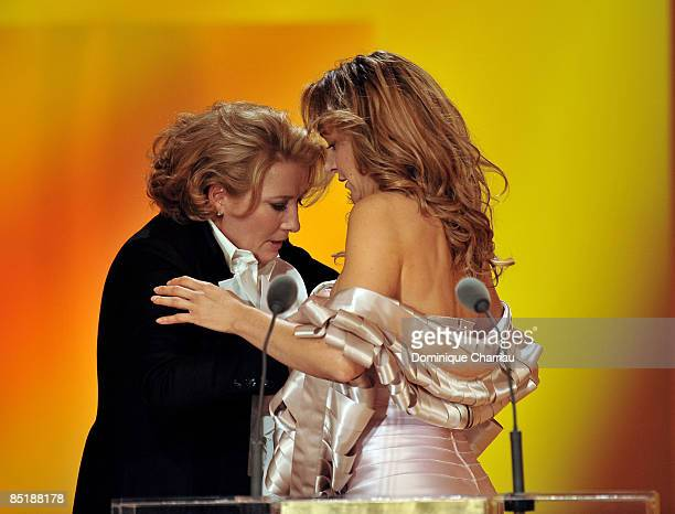 Actresses Emma Thompson and Julie Ferrier on stage during the show at the Cesar Film Awards held at the Chatelet Theater on February 27 2009 in Paris
