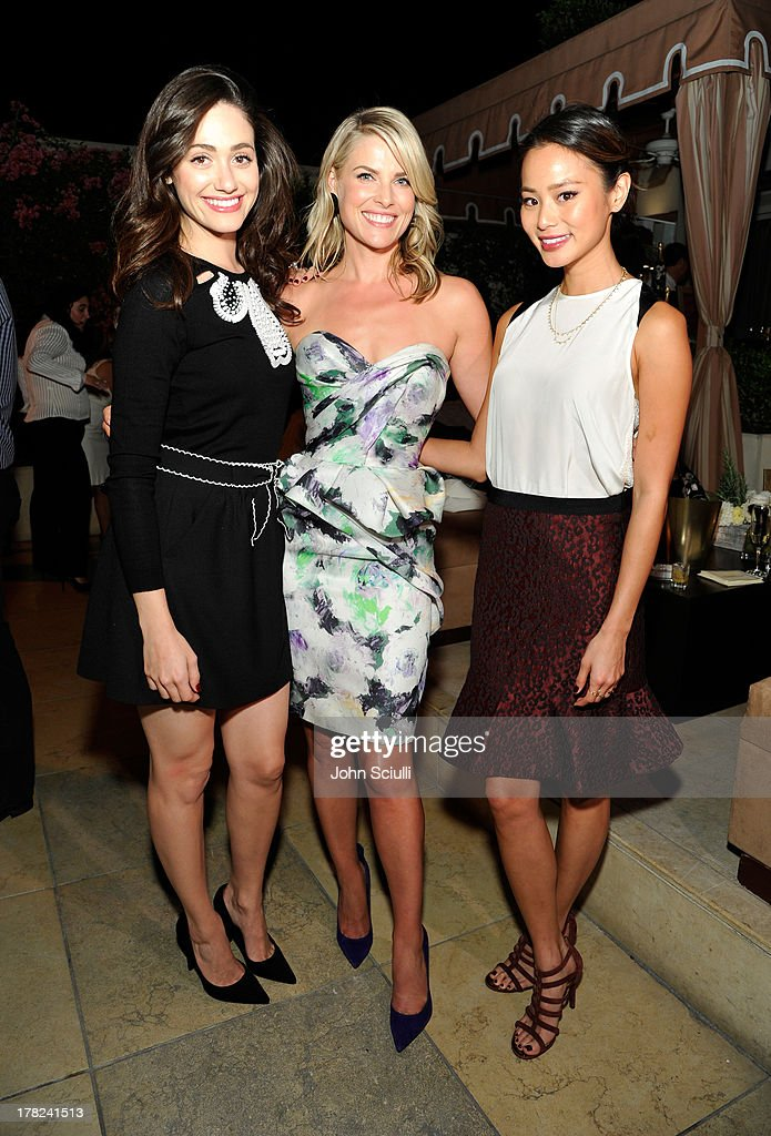 Actresses Emmy Rossum, Ali Larter and Jamie Chung celebrate the release of Ali Larter's new cookbook 'Kitchen Revelry' with Perrier-Jouet at Sunset Tower on August 27, 2013 in West Hollywood, California.