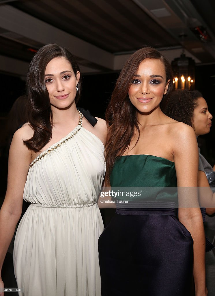 Actresses Emmy Rossum (L) and Ashley Madekwe attend Lanvin And Living Beauty Host An Evening Of Fashion on April 26, 2014 in Beverly Hills, California.