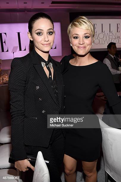 Actresses Emmy Rossum and Kaley Cuoco attend the 2014 ELLE Women In Hollywood Awards at the Four Seasons Hotel on October 20 2014 in Beverly Hills...