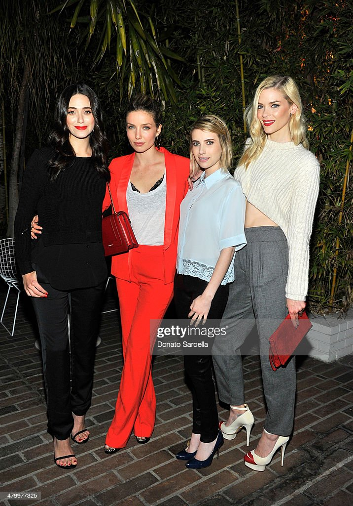 Actresses Emmy Rossum Annabelle Wallis Emma Roberts and Jaime King attend the Sandro Paris celebration at Chateau Marmont with a special performance...