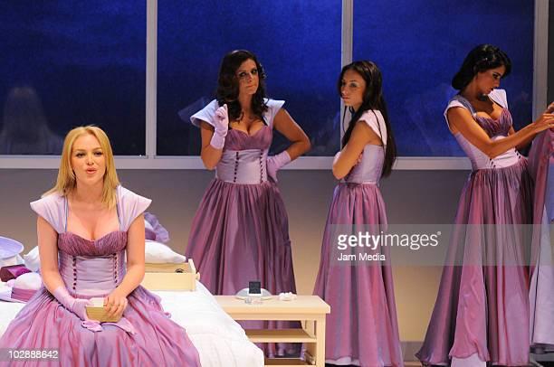 Actresses Erika de la Rosa Griselda Contreras Marimar Vega and Paola Nunez in action during the premiere of the play Cinco mujeres usando el mismo...