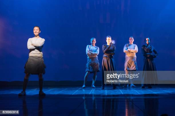 Actresses Erin Doherty Sophie Melville Joanne McGuinness Letty Thomas and Weruche Opia perform on stage during a photocall for 'The Divide' during...