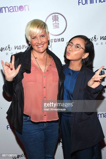 Actresses Erin Fitzgerald and Christine Cabanos attend Funimation Films presents 'Your Name' Theatrical Premiere in Los Angeles CA at Yamashiro...