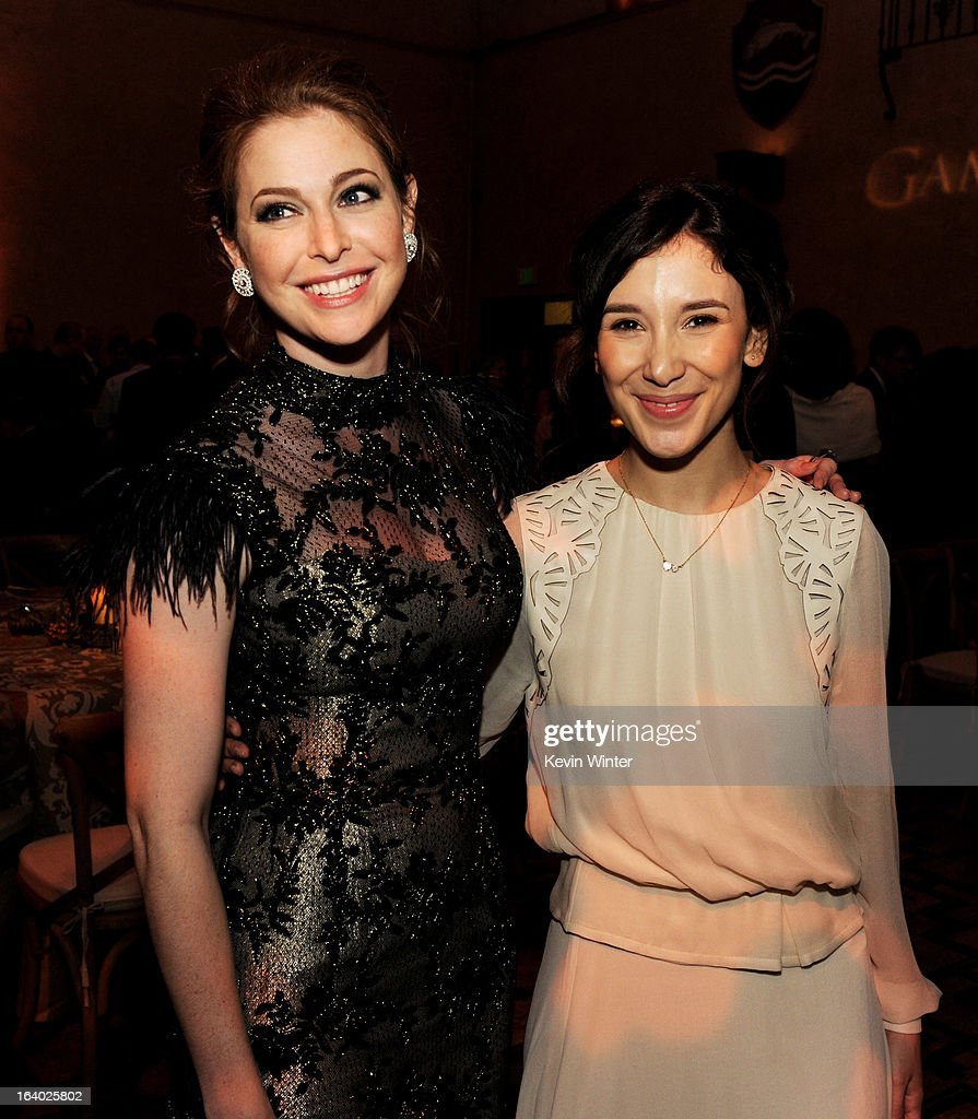 Actresses Esme Bianco (L) and Sibel Kikilli pose at the after party for the premiere of HBO's 'Game Of Thrones' at the Roosevelt Hotel on March 18, 2013 in Los Angeles, California.
