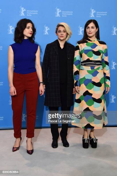 Actresses Esther Garrel Victoire Du Bois and Amira Casar attend the 'Call Me by Your Name' photo call during the 67th Berlinale International Film...