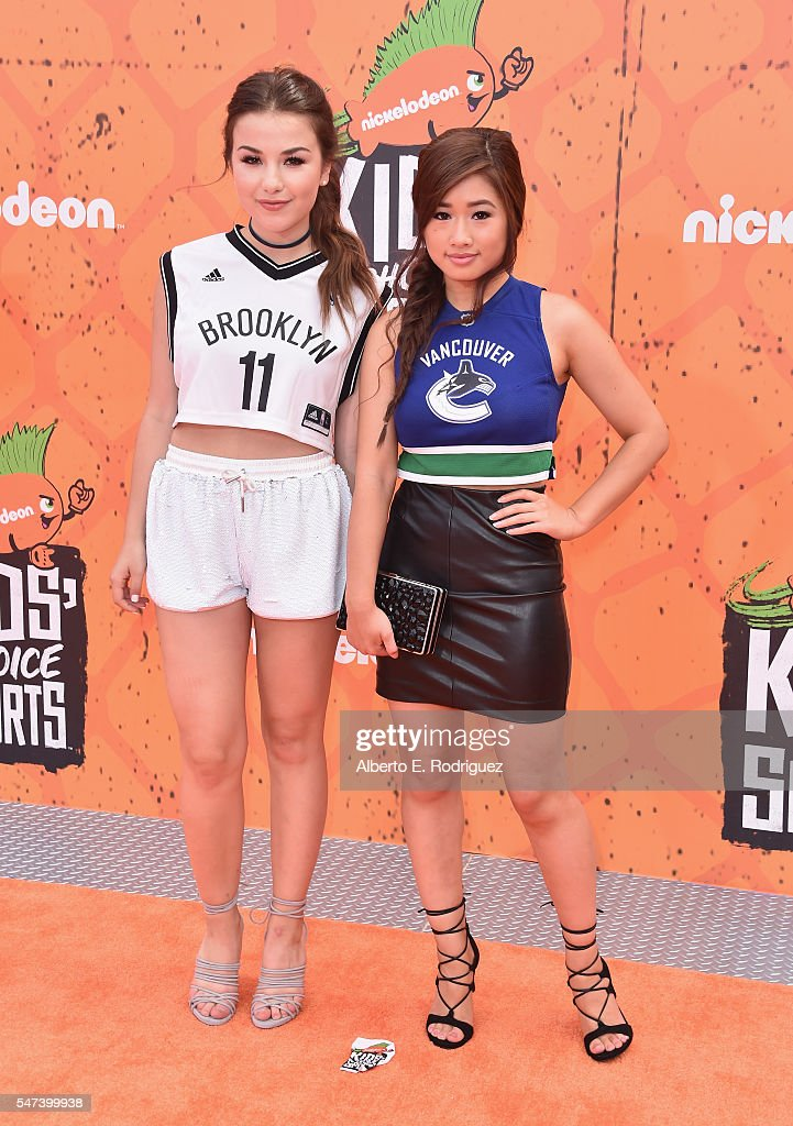 Actresses Esther Zynn and Celina Martin attend the Nickelodeon Kids' Choice Sports Awards 2016 at UCLA's Pauley Pavilion on July 14 2016 in Westwood...