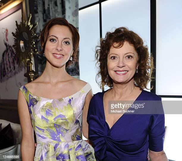 Actresses Eva Amurri and Susan Sarandon pose during MercedesBenz Fashion Week Spring 2012 at Lincoln Center on September 11 2011 in New York City
