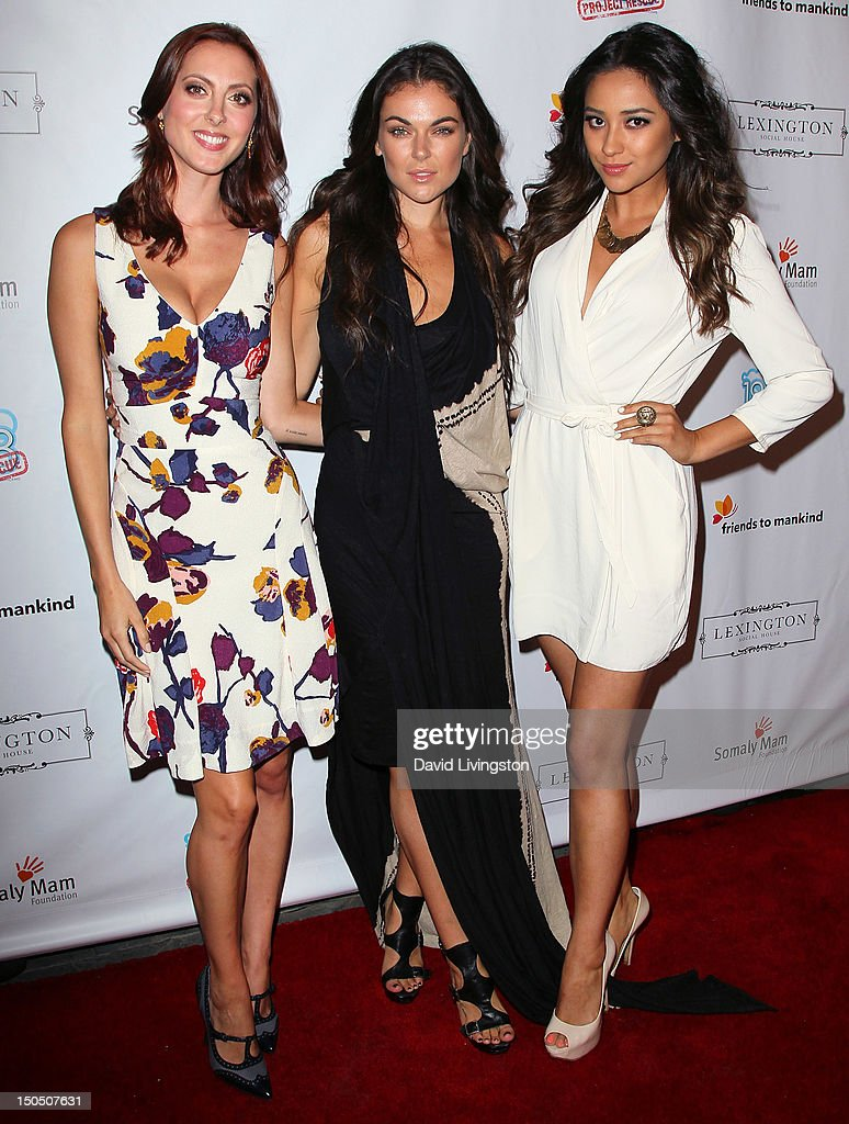 Actresses Eva Amurri Martino, <a gi-track='captionPersonalityLinkClicked' href=/galleries/search?phrase=Serinda+Swan&family=editorial&specificpeople=4388541 ng-click='$event.stopPropagation()'>Serinda Swan</a> and <a gi-track='captionPersonalityLinkClicked' href=/galleries/search?phrase=Shay+Mitchell&family=editorial&specificpeople=6886213 ng-click='$event.stopPropagation()'>Shay Mitchell</a> attend Friends to Mankind's 2nd annual 18 For 18 charity event and fundraiser 'The Jump' benefitting the Somaly Mam Foundation at Lexington Social House on August 19, 2012 in Hollywood, California.