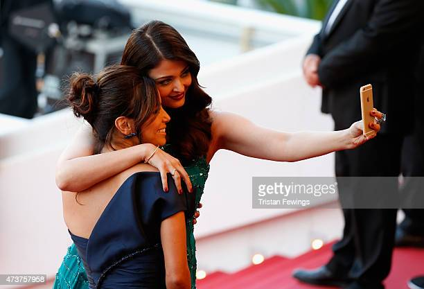 Actresses Eva Longoria and Aishwarya Rai pose for a selfie at the Premiere of 'Carol' during the 68th annual Cannes Film Festival on May 17 2015 in...
