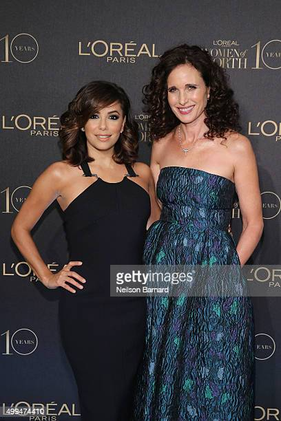 Actresses Eva Longoria and Andie MacDowel attend the L'Oreal Paris Women of Worth 2015 Celebration Arrivals at The Pierre Hotel on December 1 2015 in...