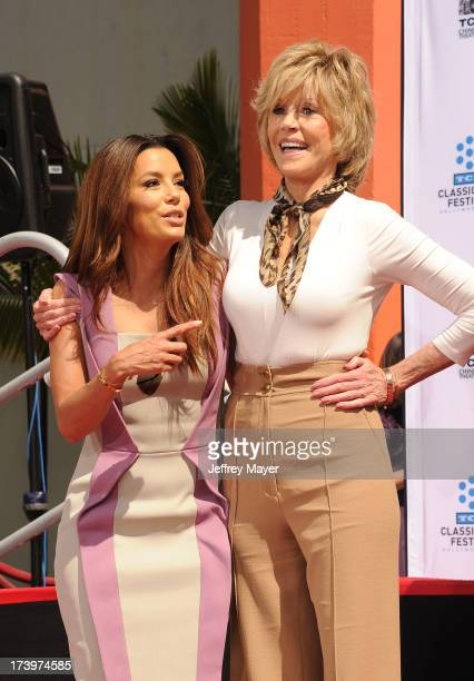 Actresses Eva Longoria and Jane Fonda attend actress Jane Fonda's Handprint/Footprint Ceremony during the 2013 TCM Classic Film Festival at TCL...