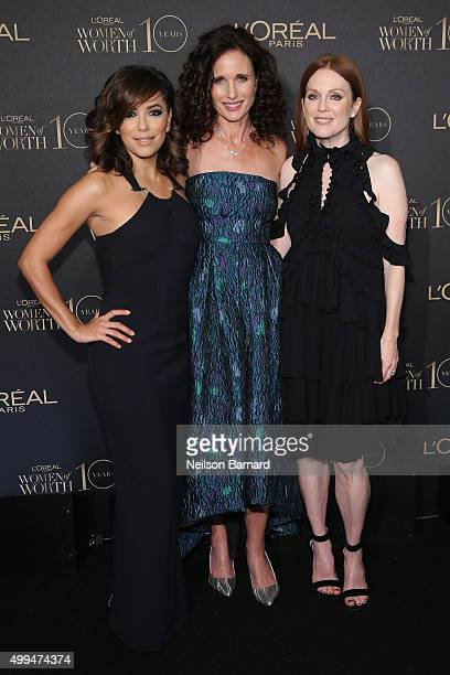 Actresses Eva Longoria Andie MacDowell and Julianne Moore attend the L'Oreal Paris Women of Worth 2015 Celebration Arrivals at The Pierre Hotel on...