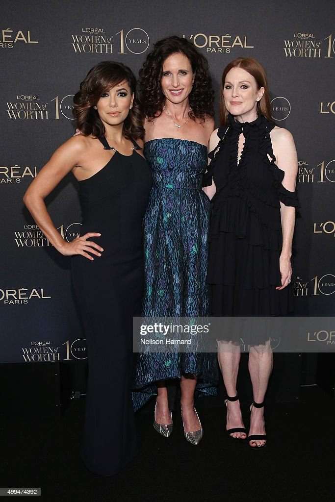 Actresses Eva Longoria, Andie MacDowell, and Julianne Moore attend the L'Oreal Paris Women of Worth 2015 Celebration - Arrivals at The Pierre Hotel on December 1, 2015 in New York City.