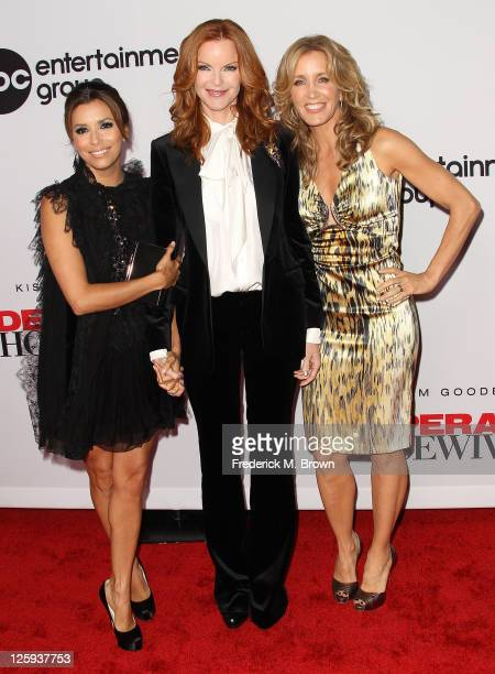 Actresses Eva Longoria Marcia Cross and Felicity Huffman attend the Disney ABC Television Host 'Desperate Housewives' Final Season KickOff Party at...