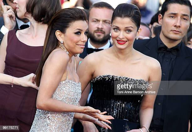 Actresses Eva Longoria Parker and Aishwarya Rai Bachchan attend the Premiere of 'On Tour' at the Palais des Festivals during the 63rd Annual...