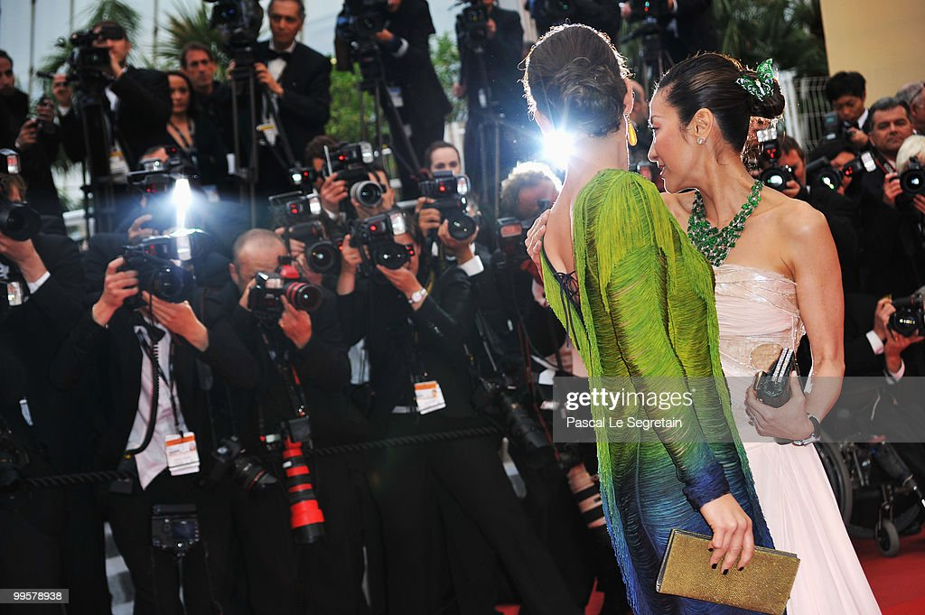 Actresses Evangeline Lilly and Michelle Yeoh attend the 'You Will Meet A Tall Dark Stranger' Premiere at the Palais des Festivals during the 63rd Annual Cannes Film Festival on May 15, 2010 in Cannes, France.