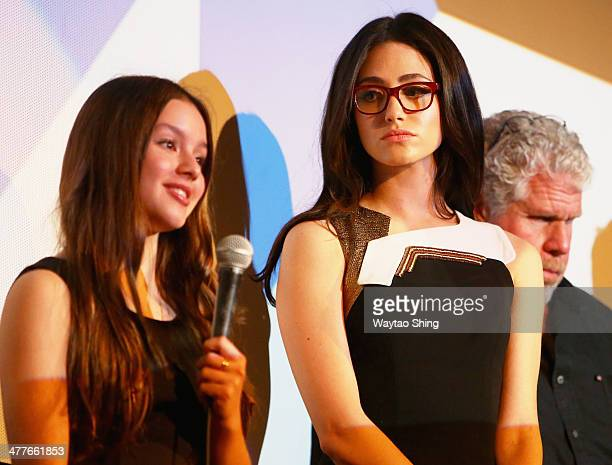 Actresses Fatima Ptacek and Emmy Rossum speak onstage at the 'Before I Disappear' Photo Op and QA during the 2014 SXSW Music Film Interactive...
