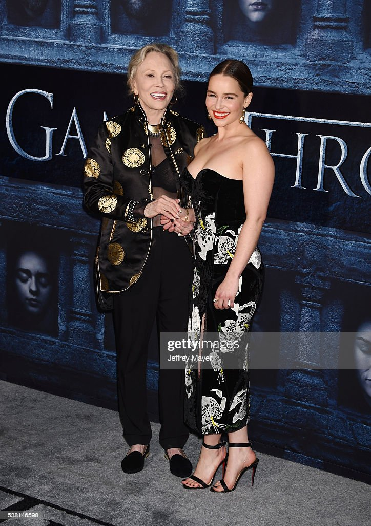 Actresses Faye Dunaway (L) and Emilia Clarke arrive at the premiere of HBO's 'Game of Thrones' Season 6 at the TCL Chinese Theatre on April 10, 2016 in Hollywood, California.