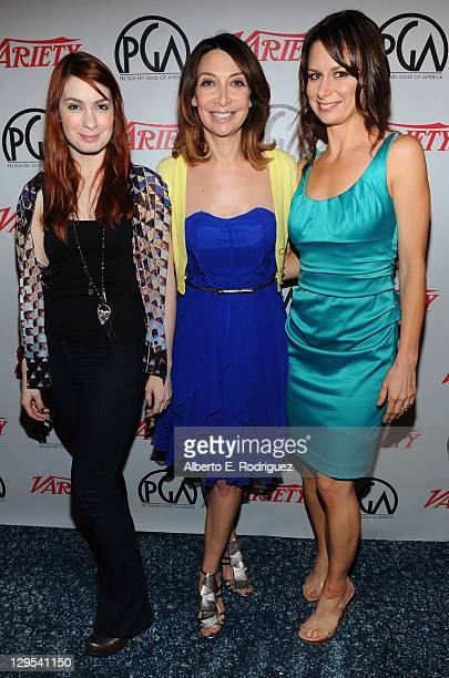 Actresses Felicia Day Illeana Douglas and Mary Lynn Rajskub attend The Producers Guild of America's Digital 25 2011 Leaders in Emerging Entertainment...