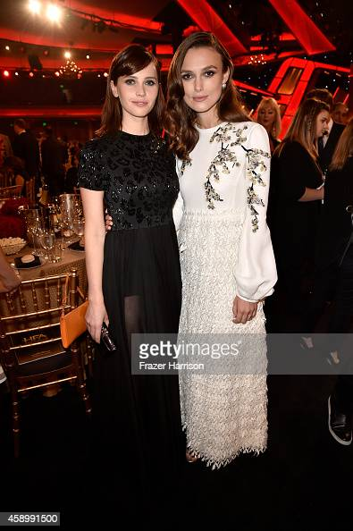 Actresses Felicity Jones and Keira Knightley attends the 18th Annual Hollywood Film Awards at The Palladium on November 14 2014 in Hollywood...