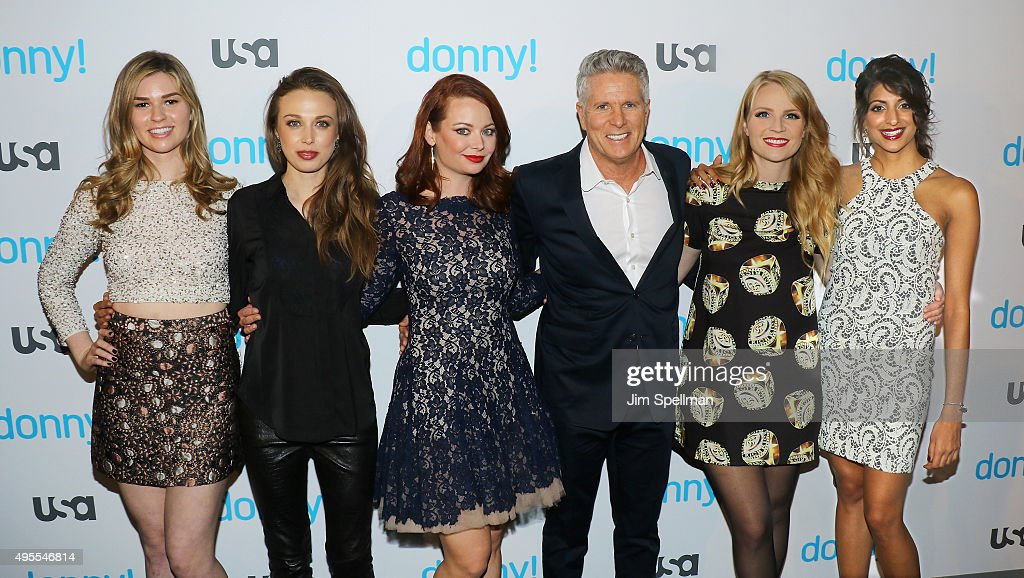 Actresses Fiona Robert, Jessica Russell, Hailey Giles, advertising executive/TV personality Donny Deutsch, actresses Emily Tarver and Meera Rohit Kumbhani attend the USA Network hosts the premiere of 'Donny!' at The Rainbow Room on November 3, 2015 in New York City.