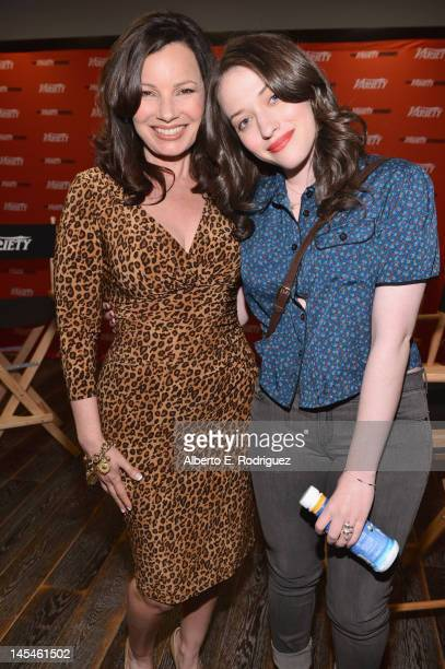 Actresses Fran Drescher and Kat Dennings attend Day 1 of the Variety EMMY studio sponsored by Motorola on May 30 2012 in West Hollywood California