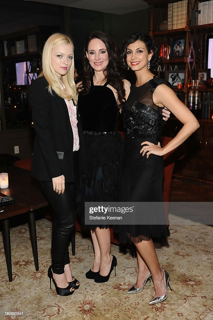 Actresses Francesca Eastwood, <a gi-track='captionPersonalityLinkClicked' href=/galleries/search?phrase=Madeleine+Stowe&family=editorial&specificpeople=1018262 ng-click='$event.stopPropagation()'>Madeleine Stowe</a> and <a gi-track='captionPersonalityLinkClicked' href=/galleries/search?phrase=Morena+Baccarin&family=editorial&specificpeople=812774 ng-click='$event.stopPropagation()'>Morena Baccarin</a> attend the ELLE's Women in Television Celebration at Soho House on January 24, 2013 in West Hollywood, California.