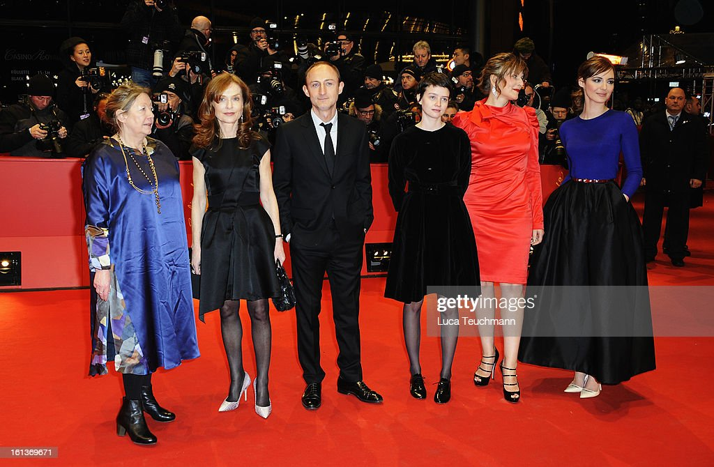 Actresses Francoise Lebrun, <a gi-track='captionPersonalityLinkClicked' href=/galleries/search?phrase=Isabelle+Huppert&family=editorial&specificpeople=662796 ng-click='$event.stopPropagation()'>Isabelle Huppert</a>, director Guillaume Nicloux and actresses <a gi-track='captionPersonalityLinkClicked' href=/galleries/search?phrase=Pauline+Etienne&family=editorial&specificpeople=6128830 ng-click='$event.stopPropagation()'>Pauline Etienne</a>, <a gi-track='captionPersonalityLinkClicked' href=/galleries/search?phrase=Martina+Gedeck&family=editorial&specificpeople=621042 ng-click='$event.stopPropagation()'>Martina Gedeck</a> and <a gi-track='captionPersonalityLinkClicked' href=/galleries/search?phrase=Louise+Bourgoin&family=editorial&specificpeople=4383765 ng-click='$event.stopPropagation()'>Louise Bourgoin</a> attend 'The Nun' Premiere during the 63rd Berlinale International Film Festival at Berlinale Palast on February 10, 2013 in Berlin, Germany.