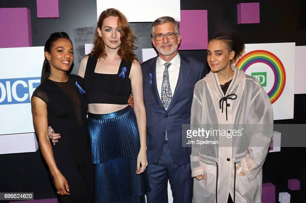 Actresses Freema Agyeman Jamie Clayton Village Voice owner Peter Barbey and Tyler Ford attend the 2017 Village Voice Pride Awards at Capitale on June...
