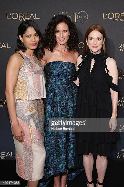 Actresses Freida Pinto Andie MacDowell and Julianne Moore attend the L'Oreal Paris Women of Worth 2015 Celebration Arrivals at The Pierre Hotel on...