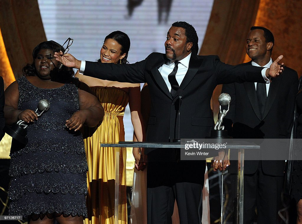 Actresses <a gi-track='captionPersonalityLinkClicked' href=/galleries/search?phrase=Gabourey+Sidibe&family=editorial&specificpeople=5667783 ng-click='$event.stopPropagation()'>Gabourey Sidibe</a>, <a gi-track='captionPersonalityLinkClicked' href=/galleries/search?phrase=Paula+Patton&family=editorial&specificpeople=752812 ng-click='$event.stopPropagation()'>Paula Patton</a> and director <a gi-track='captionPersonalityLinkClicked' href=/galleries/search?phrase=Lee+Daniels&family=editorial&specificpeople=209078 ng-click='$event.stopPropagation()'>Lee Daniels</a> accept the Outstanding Motion Picture Award for 'Precious: Based on the Novel 'Push' by Sapphire' onstage during the 41st NAACP Image awards held at The Shrine Auditorium on February 26, 2010 in Los Angeles, California.