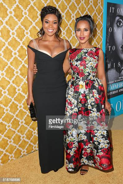 Actresses Gabrielle Union and Kerry Washington attend the Los Angeles premiere of HBO Films' 'Confirmation' at Paramount Theater on the Paramount...
