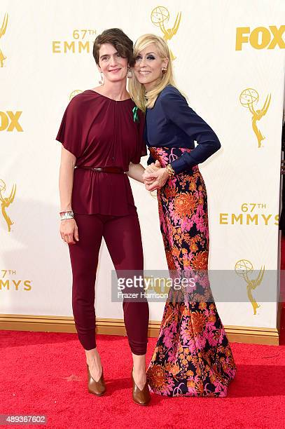 Actresses Gaby Hoffmann and Judith Light attend the 67th Annual Primetime Emmy Awards at Microsoft Theater on September 20 2015 in Los Angeles...