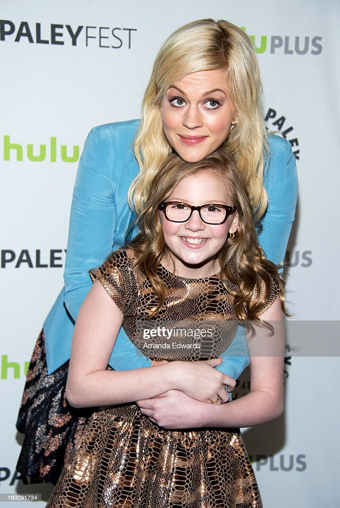 Actresses Georgia King (top) and Bebe Wood arrive at the 30th Annual PaleyFest: The William S. Paley Television Festival featuring 'The New Normal' at the Saban Theatre on March 6, 2013 in Beverly Hills, California.