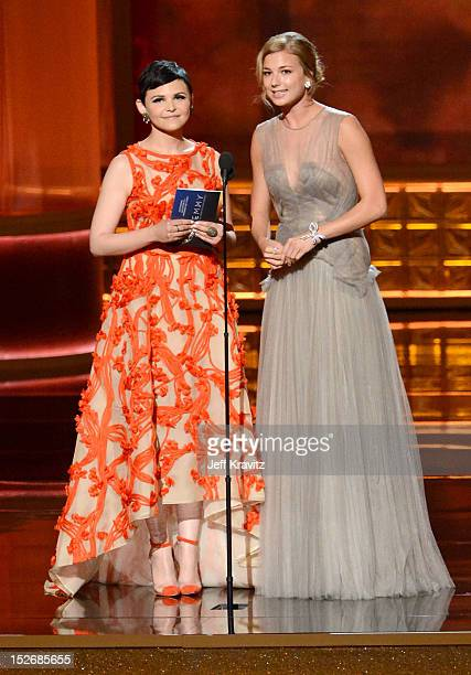 Actresses Ginnifer Goodwin and Emily VanCamp onstage during the 64th Primetime Emmy Awards at Nokia Theatre LA Live on September 23 2012 in Los...