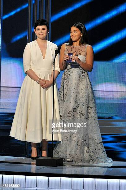 Actresses Ginnifer Goodwin and Gina Rodriguez speak onstage during the 41st Annual People's Choice Awards at Nokia Theatre LA Live on January 7 2015...