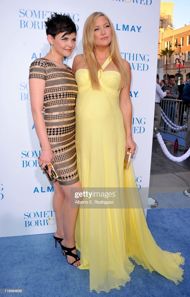 Actresses <a gi-track='captionPersonalityLinkClicked' href=/galleries/search?phrase=Ginnifer+Goodwin&family=editorial&specificpeople=215039 ng-click='$event.stopPropagation()'>Ginnifer Goodwin</a> (L) and <a gi-track='captionPersonalityLinkClicked' href=/galleries/search?phrase=Kate+Hudson&family=editorial&specificpeople=156407 ng-click='$event.stopPropagation()'>Kate Hudson</a> arrive at the premiere of Warner Bros. 'Something Borrowed' held at Grauman's Chinese Theatre on May 3, 2011 in Hollywood, California.