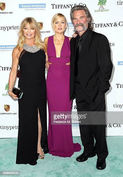 Actresses Goldie Hawn and Kate Hudson and actor Kurt Russell attend The 2014 Baby2Baby Gala Presented by Tiffany Co at The Book Bindery on November 8...