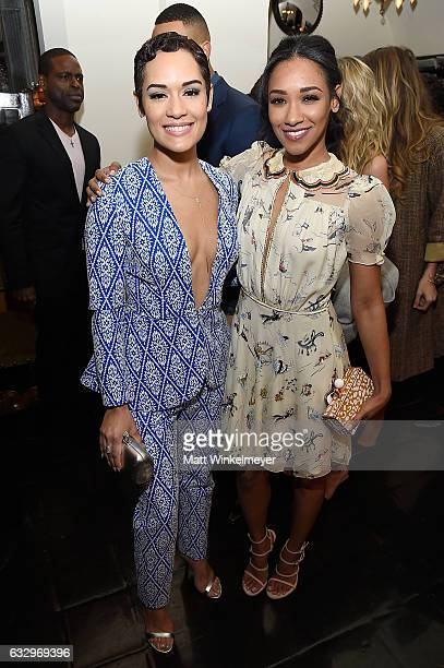 Actresses Grace Gealey and Candice Patton attend the Entertainment Weekly Celebration of SAG Award Nominees sponsored by Maybelline New York at...