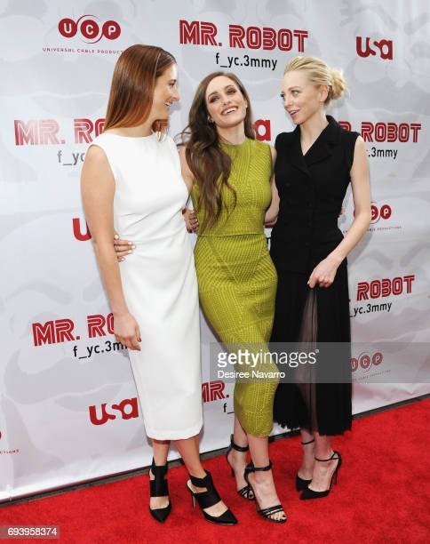 Actresses Grace Gummer Carly Chaikin Portia Doubleday attend 'Mr Robot' FYC Screening at The Metrograph on June 8 2017 in New York City