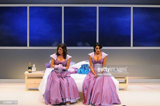 Actresses Griselda Contreras and Paola Nunez in action during the premiere of the play Cinco mujeres usando el mismo vestido at Telon de Asfalto...
