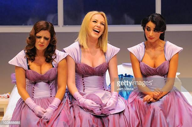 Actresses Griselda Contreras Erika de la Rosa and Paola Nunez in action during the premiere of the play Cinco mujeres usando el mismo vestido at...
